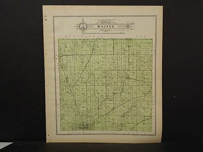 Wisconsin Fond Du Lac Couny Map Waupun  Township 1910   J11#40