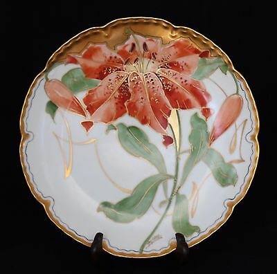 Antique Porcelain Hand Painted Orange Lily Plate Artist Signed Alfred