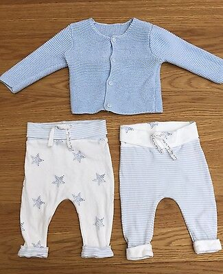 Baby Boys Pale Blue Knit Cardigan And Trousers Mini Bundle Mothercare 3-6 Months