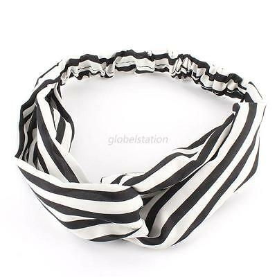 Fashion Women Floral Turban Yoga Twisted Knotted Hair Band Headband Striped