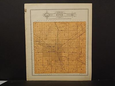 Wisconsin Fond Du Lac Couny Map Ripon Township 1910   J11#54