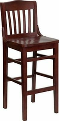 New Heavy Duty Mahogany All  Wood Restaurant Barstools  **lot Of 10 Bar Stools**