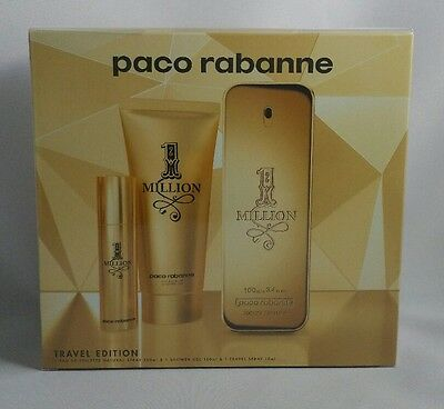 Paco Rabanne 1 Million 100Ml 3.4 Fl.Oz Eau De Toilette 3 Pcs Gift Set For Men