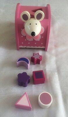 Baby Girls Pink Wooden Mouse Shape Sorter Toy