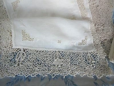 9Vtg Antique Reticella Place Mat Figural Needle Lace Set Man Lady & 4Napkins Lot