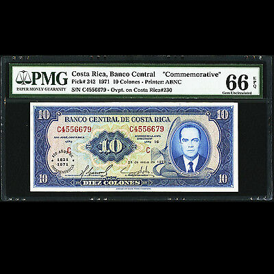 Costa Rica 10 Colones 1971 Commemorative Note P-242 PMG EPQ 66 GEM UNC