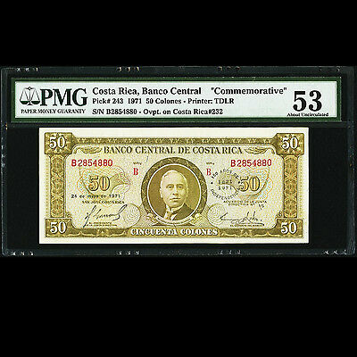 Costa Rica 50 Colones 1971 Commemorative Note P-243 PMG About UNC 53