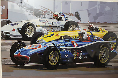 "Sue Steele Thomas Signed-Numbered Print ""Three Indy Cars"" Limited Edition 15/100"
