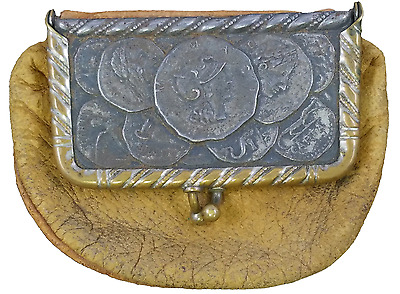 Early 1900's Vintage Victorian Era Leather Coin Purse Depicting Ancient Coins