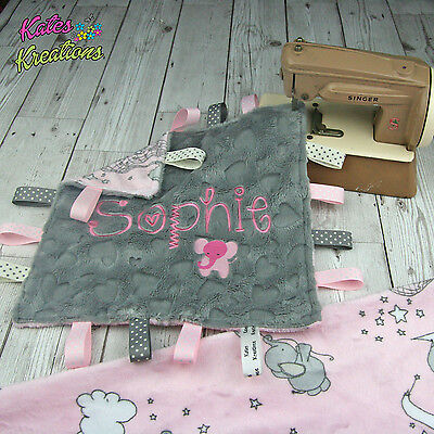 Personalised Baby Plush Comforter / taggie blanket - Dream Big Pink - Shannon