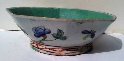 Antique Octagon Chinese Celadon Porcelain Bowl with Chickens Flowers