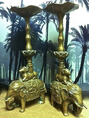PAIR OF 11.5 INCH TALL ANTIQUE CAST BRONZE CHINESE CANDLE STICKS w/ ELEPHANTS