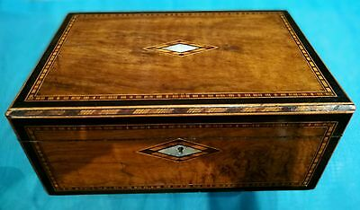Antique Writing Slope Box Stationary Jewellery Trinket Sewing c.1880