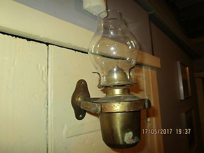 Sherwood Brass Ships Gimbal Oil Lamp + wall bracket.Lamp stamped Queen British