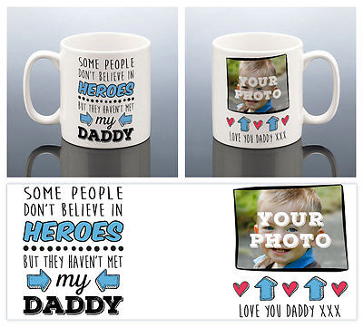 DADDY HERO PHOTO MUG Daddy Gift Best Dad Fathers Cup Him Men Birthday Present