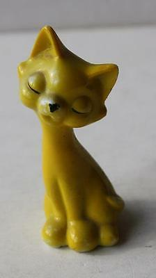 Vintage Yellow Miniature Ceramic-Porcelain Cat-Kitten Eyes Closed Figurine-LOOK
