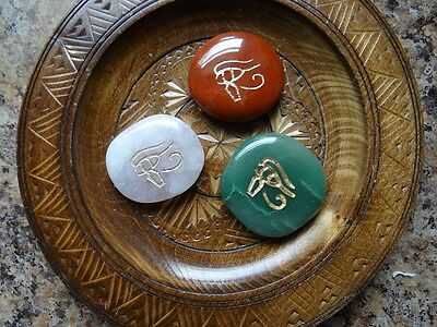 *EYE of HORUS* Carved Worry Stone Gemstone Totem Wiccan Pagan Metaphysical
