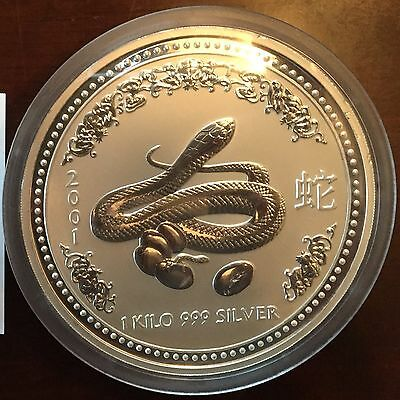 Perth Mint 2001 1 kilo 999 Silver Lunar Year of the Snake (Series I)