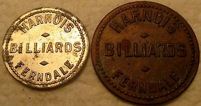 2 Vintage Ferndale Wa. Harnois Billiards Good-For 5 & 10 Cents Trade Tokens!