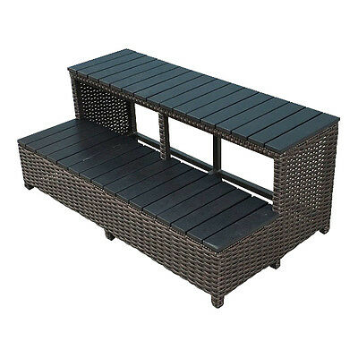 Straight Wicker Hot Tub Step - Acrylic Spa Surround Furniture - 1 of 8 pieces