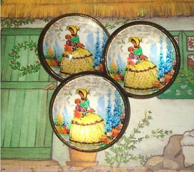 Dome Glass Button in Crinoline Southern Belle Lady From a Vintage China Pattern