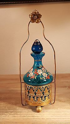 Beautiful mid to late 1800s French? enameled glass scent bottle in fancy holder
