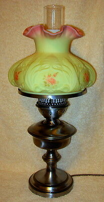 Vintage Fenton Burmese Art Glass Hand Painted Roses Lamp