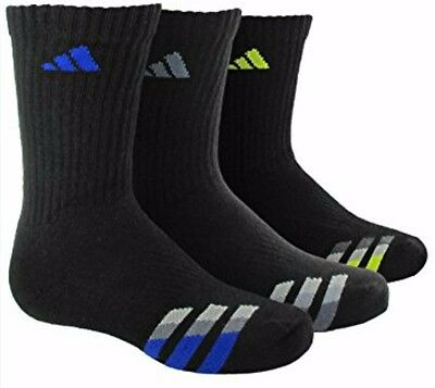 L@@k !! 3 Pair Stain Resistant!!! Adidas Youth Cushioned High Socks Size L 3Y-9