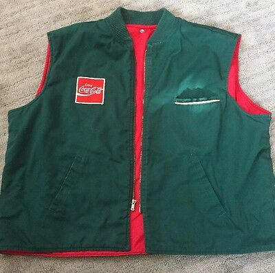 Vintage Rare Coca Cola Delivery Driver Vest Red Patch XL Green Red Insulated