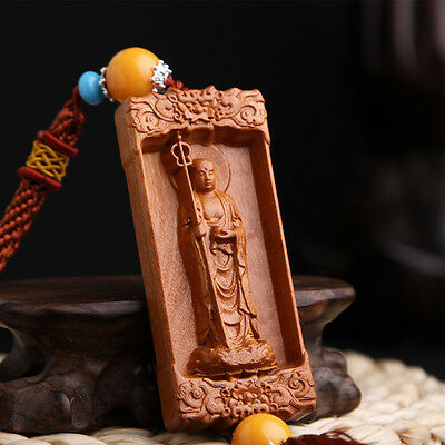 Chinese Dizang Ksitigarbha Buddha Sculpture Wood Carving Amber Bead Car Pendant