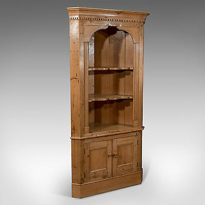 Antique Victorian Pine Tall Corner Wall Cupboard Cabinet c1900