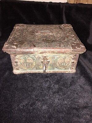 Antique Indian Carved Wood Dowry Chest Box
