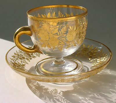 1800s Bohemian Moser glass footed cup & saucer intaglio cut gold enamel flowers