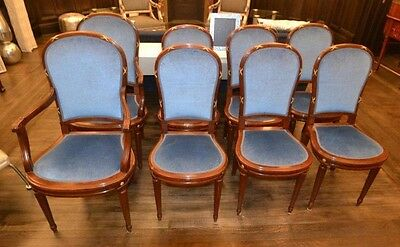 Dining Chairs 19th Century Set Eight 8 Louis XVI Style French Walnut small blue