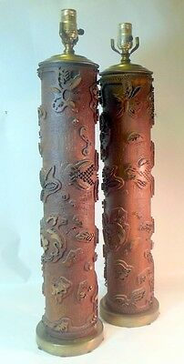 Vtg Antique Pair of WALLPAPER Printing Roll Lamps Cylinder
