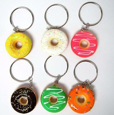 Bulk Lot x 6 Assorted Mini Iced Donut Keyrings Kids Party Favors Novelty NEW