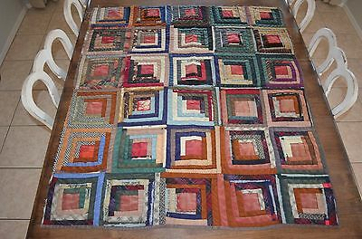 "Antique Primitive Log Cabin Quilt Piece Cutter Hand Made Early 37""x43"" As-Is"