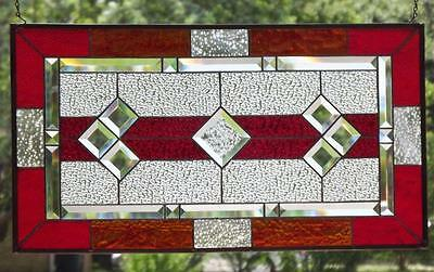"• Classic RED • Beveled Stained Glass Window Panel • 28 3/8""x15 3/8""(72x39Cm)"