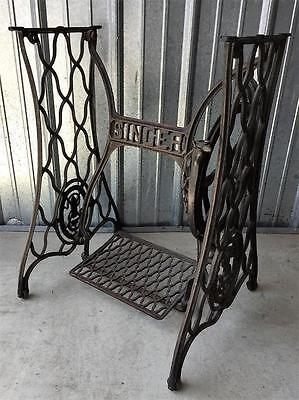 Vtg Singer Treadle Sewing Machine Ornate Cast Iron Table Base Legs Steampunk (e)