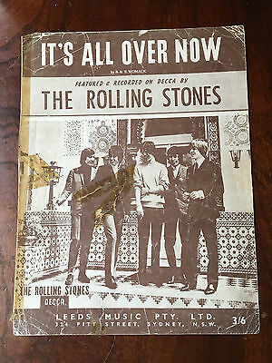 THE ROLLING STONES - It's All Over Now. Australian Sheet Music