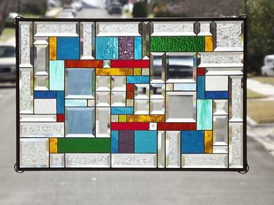 "• CONTRAST • HUGE- 29 3/4"" 19 3/4""x (75x50cm.) Stained Glass"