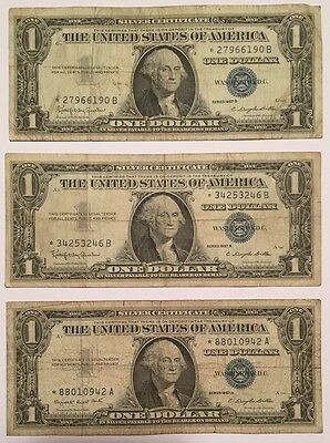3x 1957 A B STAR NOTES Silver Certificate One $1 Dollar Blue Seal Bill, Nice !!!