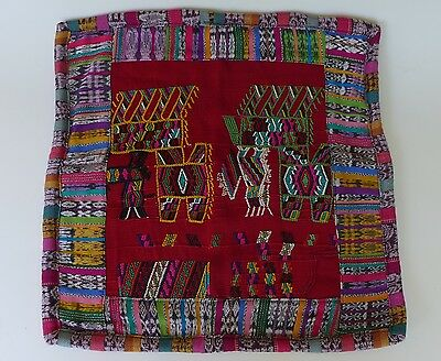 "Handcrafted Guatemala textile cotton embroidered pillow case cover new 18"" x 18"""