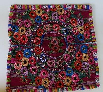 """Handcrafted Guatemala textile cotton embroidered pillow case cover new 18"""" x 18"""""""