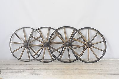 "4 Vintage Wood Spoke Baby Buggy Wheels 14"" Wood Metal And Rubber"