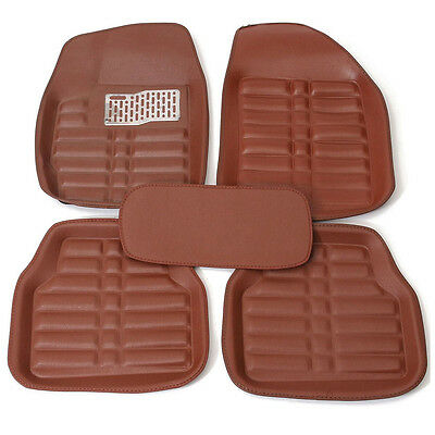 5Pcs Brown Universal Car Floor Mats FloorLiner Front&Rear Carpet All Weather Mat