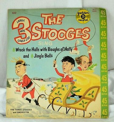1950's Vintage The 3 Stooges Christmas Golden Record 45 RPM w/ PS Larry Moe