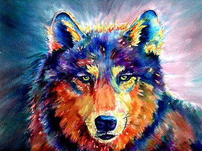 Watercolor Wolf Painting Prints Wall Art DIY Home Decor Poster Choose your Size