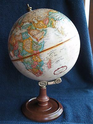 "Vintage Replogle 9"" World Classic Desk Globe With Raised Wooden Base Made In Usa"