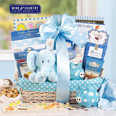Baby Shower Gift Basket Newborn Boys Set Includes Goodies for Proud Parents NEW